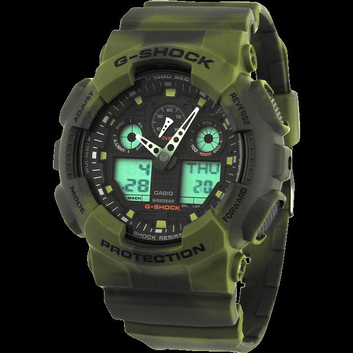 GA-100MM-3A グリーン(緑) マーブルパターン 迷彩柄