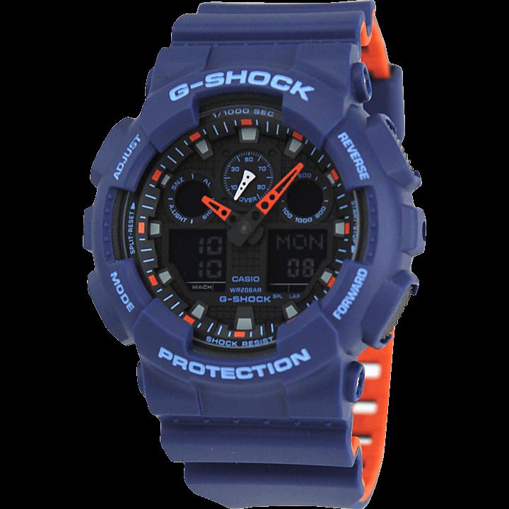 GA-100L-2A ネイビー(紺)×オレンジ(橙) バイカラーベルト