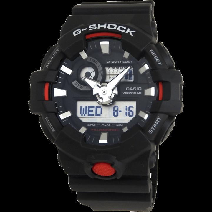 GA-700-1A ブラック(黒)×シルバー(銀)×レッド(赤) 立体的なインデックスと針が特徴的なG-SHOCK
