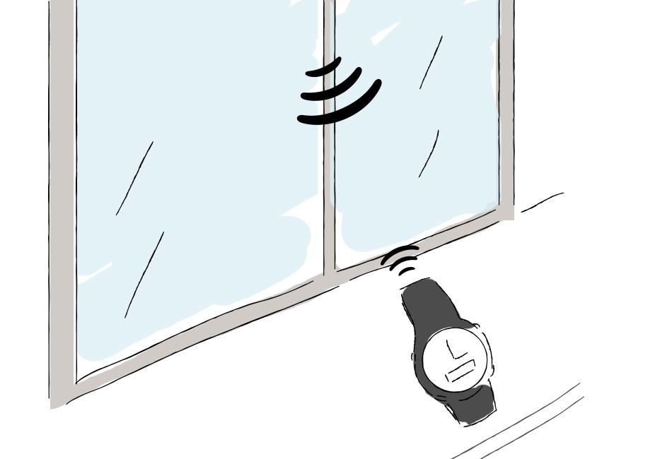 窓際で電波受信イラスト