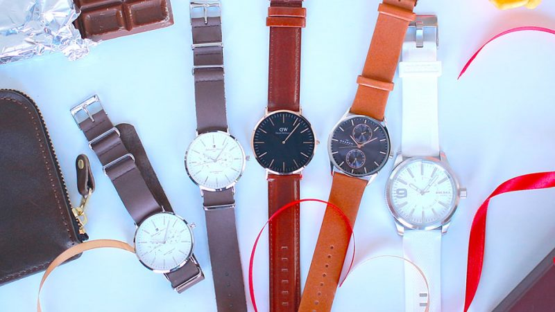 レザーバンドの腕時計